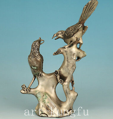 Chinese Copper Plating Silver Handmade Carved Bird Statue Figure