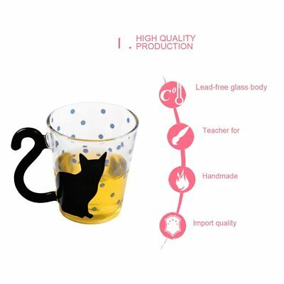 Innovative Cute Cat Kitty Glass Mug Cup Dots Decoration Cup For Home Office FC