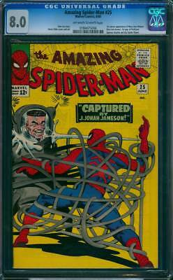 Amazing Spider-Man #  25  Captured by J.Jonah Jameson !  CGC 8.0  scarce book!