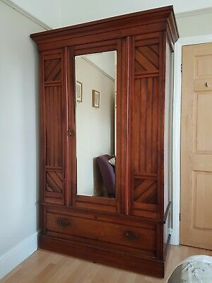Victoria Pine Wardrobe in the arts and craft style. Solid wood.