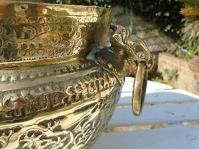 Unusual Heavy Vintage Brass Jardiniere Plant Pot Holder Elephant Head Handles