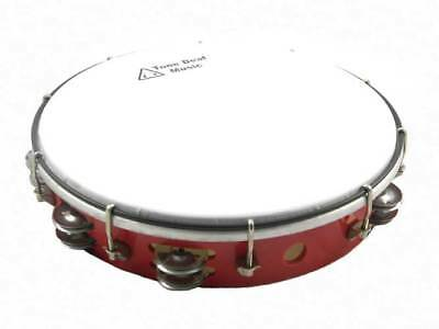 "10"" TUNABLE HEADED TAMBOURINE RED hand percussion tamborine drum jingles NEW"