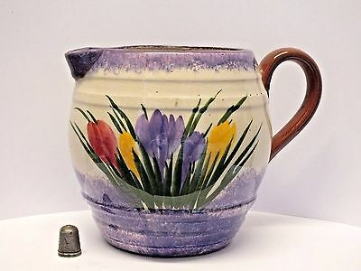 "Vintage Longpark Torquay Pottery Large Crocus Pattern Jug with ""Clovelly"" Motto"