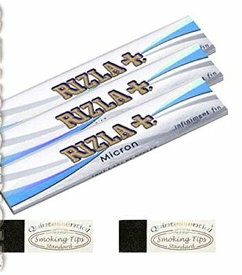 3 Rizla Micron King Size Slim Rolling Papers & 2 Quintessential Standard Roach