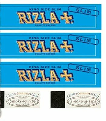 3 Rizla Blue King Size Slim Rolling Papers & 2 Quintessential Standard Roach Tip