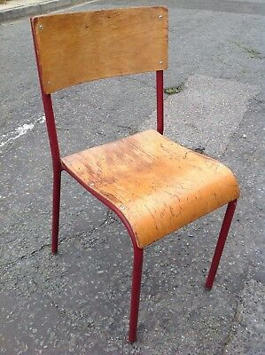 Vintage school chair, industrial plywood and steel chair, church hall seating.