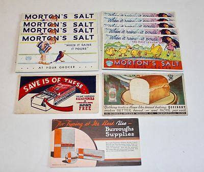 Vintage Ad Cards: Morton Salt, Burroughs, American Ace Matches, Russell Miller