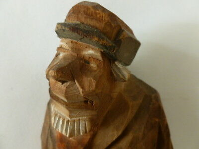 Excellent large antique German carved wood wooden figure; a man with stick ,1938