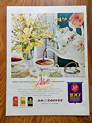 1959 A & P Coffee Ad Serve the Coffee That's Alive with Flavor 100th Birthday