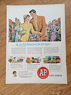 1950 A & P Super Markets Ad Husband & Wife Shopping Together at the Market