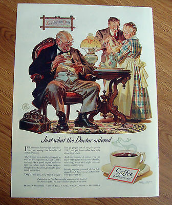 1941 Pan American Coffee Ad Just what the Doctor Ordered  New Baby Theme