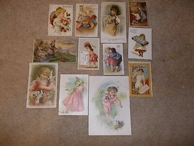 lot of 12 victorian trade cards - insurance, corset, lawn mower, etc. - some rar