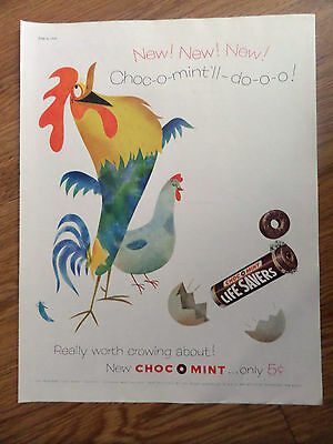 1956  Life Savers Candy Ad  Rooster Really Worth Crowing About  Choc O Mint