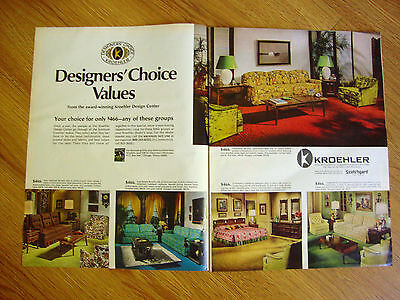 1969 Kroehler Furniture Ad Designers' Choice Values