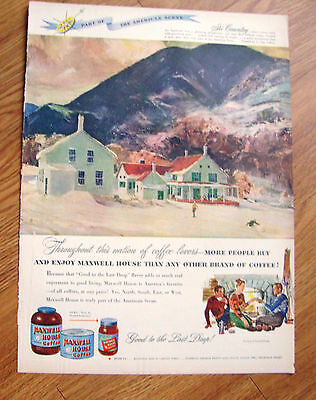 1948 Maxwell House Coffee Ad Ski Country