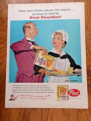1958 Post Cereal Ad Butler & Maid Dick Sargent Illustrated Artwork