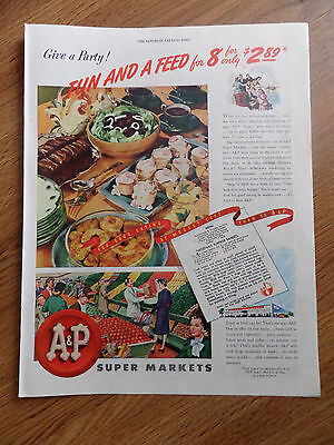 1945 A & P Super Markets Ad  Give a Party! Fun & A Fee for 8 for only $2.89