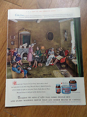 1948 Maxwell House Coffee Ad  Coffee Time at a Sewing Bee by Richard Munsell