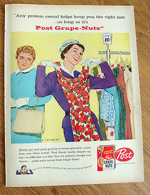 1958 Post Cereal Ad Sargent Artwork Ladies Shopping