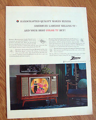 1963 Zenith TV Television Ad  Handcrafted Quality Largest Selling TV