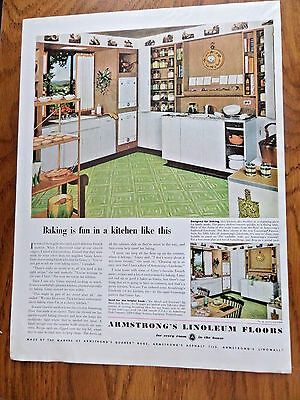 1952 Armstrong's Linoleum Floors Ad  Kitchen