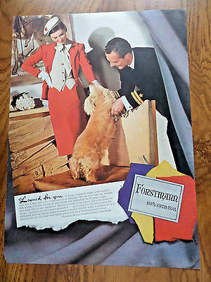 1943 Forstmann Wool Fashion Ad    Cocker Spaniel Dog