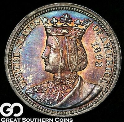 1893 Isabella Commemorative Quarter, Choice BU++ Better Date, Lovely Rainbow!