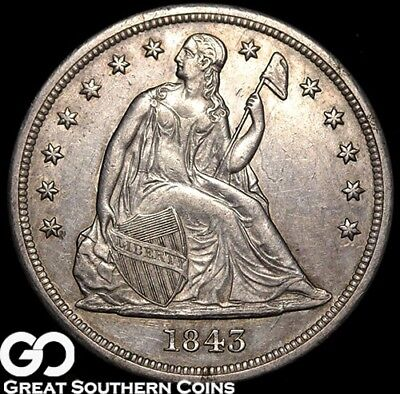 1843 Seated Liberty Dollar, Scarce AU Coin ** Free Shipping!