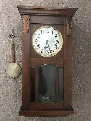 Antique Oak Case Hanging Wall Clock With Westminster Chimes