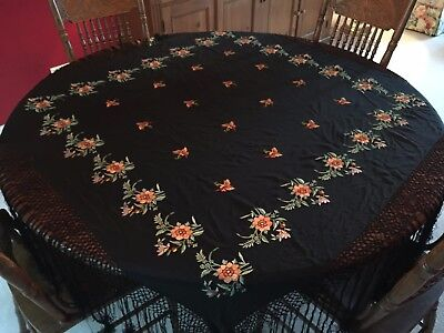 Antique Canton Silk Piano Shawl with Butterflies
