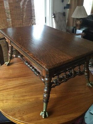 Rare Antique Quarter Sawn Oak Barley Twist  Ball& Claw Footed Coffee Table