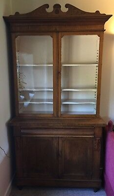 Fabulous Yew Wood Bookcase Sideboard Cupboard Display Cabinet Dresser