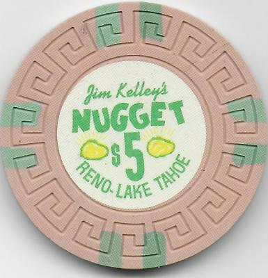 $5 Casino Chip-JIM KELLEY'S NUGGET-Reno, Nv.-N6197-CG033726-Hot Pink-Poor Scan