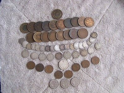 Old Canada Coins, 59 pcs., Large Cents, small cents, silver 5 Cents, & more