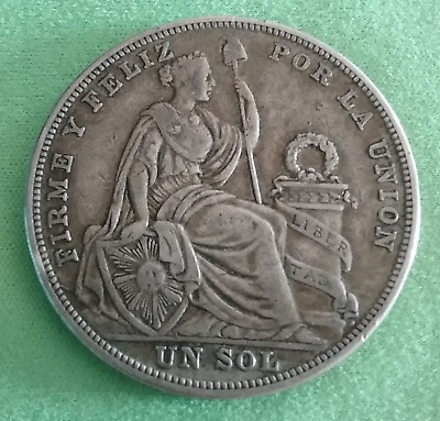 Silver Coin 1 Un Sol Peru 1924 Dollar 25g Best Offer KM#218.2