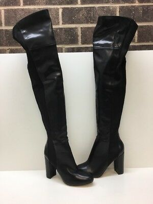 ALDO Black  Leather/Elastic Over the Knee Boots Women's Size 9