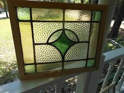R400 Lovely Older Leaded Stain Glass Window From England Reframed