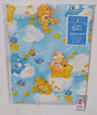 Vintage Birthday Care Bears Wrapping Paper NIP 1 GIANT Sheet 8.33 sq ft 1980's