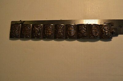 Antique Chinese Sterling Silver 925 Bracelet Hand Carved Flowers.