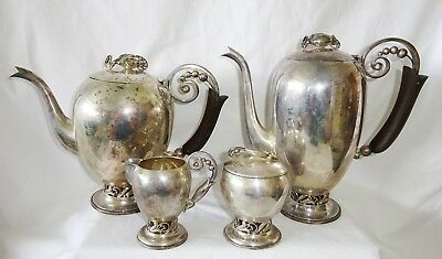 Vintage 4Pc x 950 Sterling Silver Pierced Motif Coffee & Tea Service unsign(Yir)