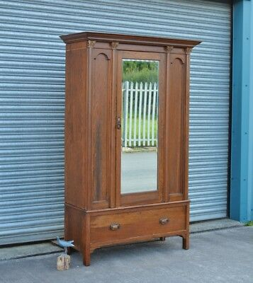 Antique Solid Oak Wardrobe with Drawer.