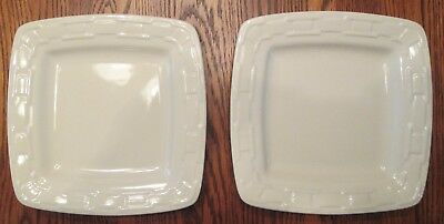 Set Of 2 Longaberger Woven Traditions Pottery Ivory Soft Square Luncheon Plates