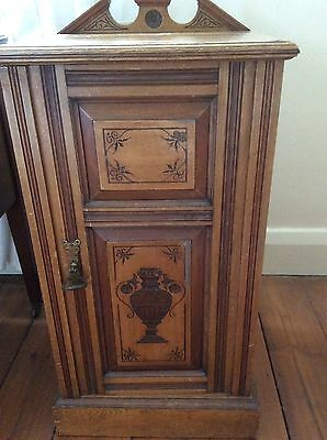 Edwardian, Mahogany Carved Wood bedside cupboard (collection Banbury)