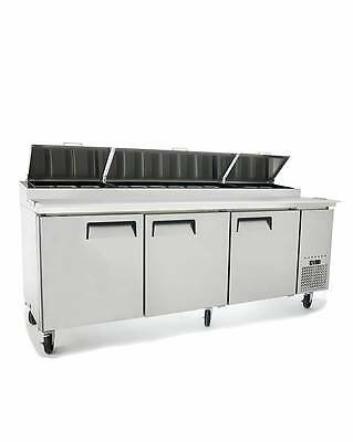 """New 93"""" Refrigerated Pizza Prep Table 3 Doors 12 Pans 19.5"""" Deep Board & Casters"""