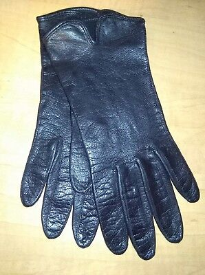 Women's Thin Black Vintage Leather Driving Gloves ~ Size 7