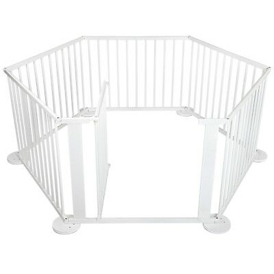 Baby Kids Toddler Deluxe White Wooden Playpen Divider Safety Gate 6 Panel #S