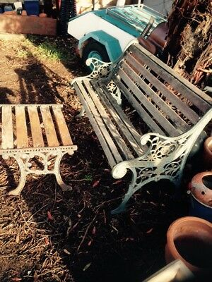 Vintage Cast Iron Outdoor Bench Seat Ends & Table
