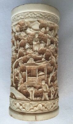 Vintage Chinese High Relief Filigree Bovine Bone Pagoda People Pen Pencil Holder