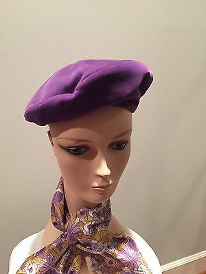 Purple velvet beret with matching silk scarf