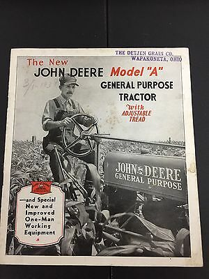 John Deere Brochure Model A GP Tractor Original 1934 Rare